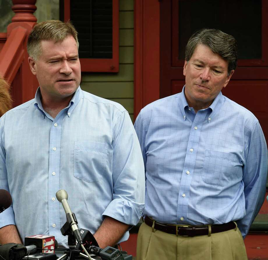 U.S. Rep.  Chris Gibson, left,  endorses John Faso, right, for the 19th Congressional District seat, that Gibson currently holds, on Monday, July 18,  2016, outside Gibson's home in Kinderhook, N.Y. (Skip Dickstein/Times Union) Photo: SKIP DICKSTEIN / 20037358A