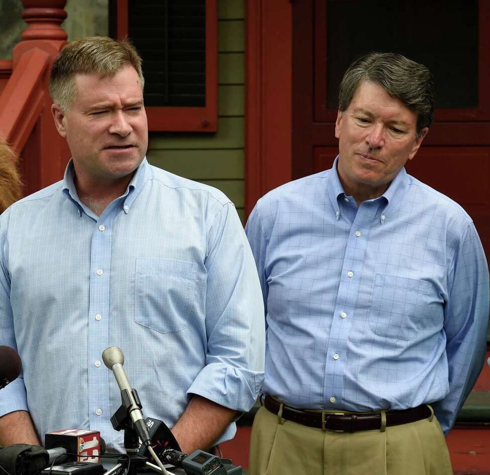 U.S. Rep. Chris Gibson, left, endorses John Faso, right, for the 19th Congressional District seat, that Gibson currently holds, on Monday, July 18, 2016, outside Gibson's home in Kinderhook, N.Y. (Skip Dickstein/Times Union)