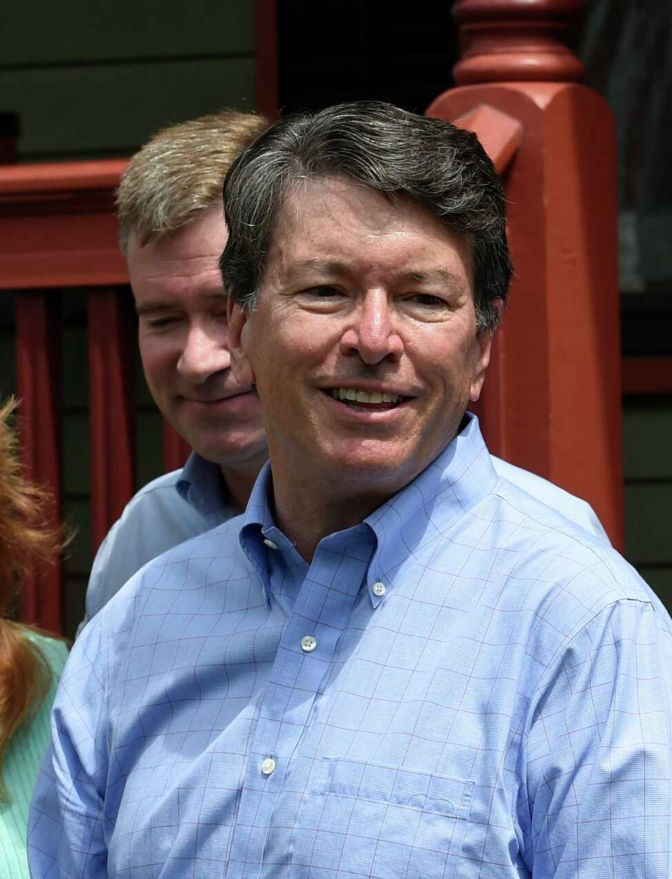 John Faso accepts the endorsement of U.S. Rep. Chris Gibson, background, for his seat in Congress on Monday, July 18, 2016, outside Gibson's home in Kinderhook, N.Y. (Skip Dickstein/Times Union)