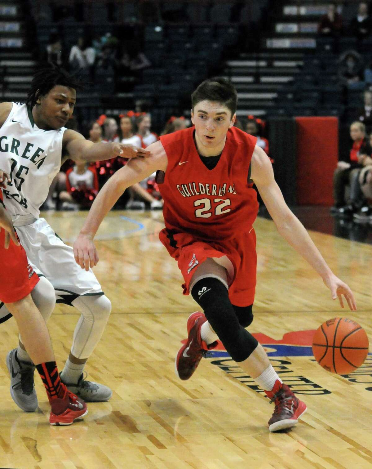 Guilderland's Andrew Platek drives to the basket during a Class AA sectional game in 2015. He starred at Guilderland before going to Northfield Mount Hermon for a year.