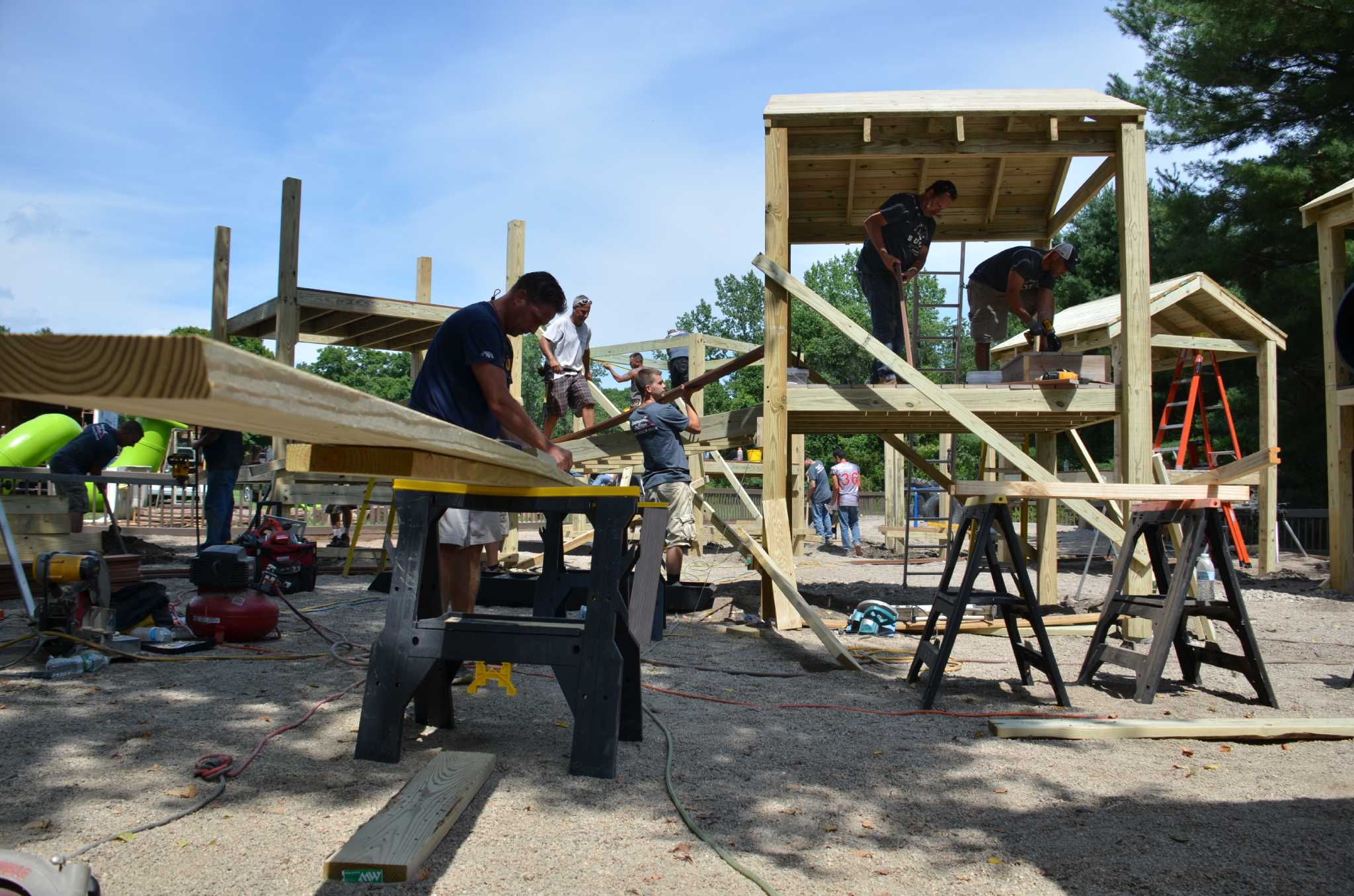 Basement Systems goes outside and builds Ansonia a playground