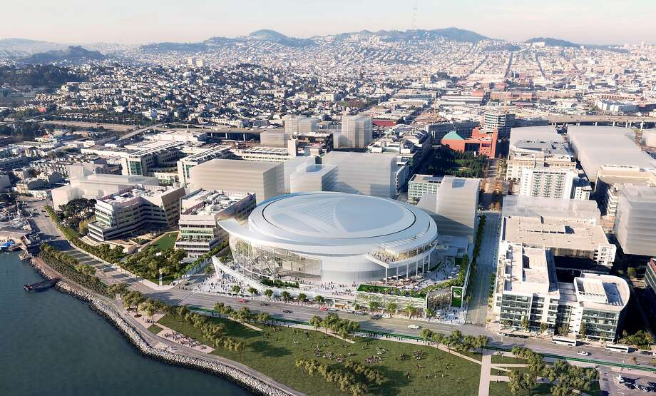 Rendering released on Dec. 10, 2014 show the east aerial view of the Golden State Warriors' proposed new arena in San Francisco's Mission Bay area. The arena would seat 18,000 people, have a view deck, and include a 24,000 square foot public plaza on the southeast side and a 35,000 square foot public plaza on the Third Street side. Completion is slated for the start of the 2018-19 NBA season. Photo: Images Rendered By Steelblue., Courtesy Of MANICA Architecture.