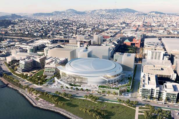 Rendering released on Dec. 10, 2014 show the east aerial view of the Golden State Warriors' proposed new arena in San Francisco's Mission Bay area. The arena would seat 18,000 people, have a view deck, and include a 24,000 square foot public plaza on the southeast side and a 35,000 square foot public plaza on the Third Street side. Completion is slated for the start of the 2018-19 NBA season.
