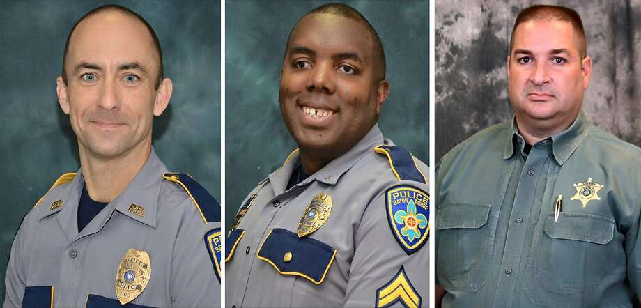 (COMBO)This three image combination photo shows L-R: Baton Rouge police officers Matthew Gerald and Montrell Jackson and Baton Rouge Parish Deputy Brad Garafalo. A black veteran shot three police officers dead July 17, 2016 in the Louisiana capital of Baton Rouge, in a bloody act reminiscent of recent slayings in Dallas to avenge African Americans killed by law enforcement. The shooting, which also wounded three other officers, took place in a city scarred by racial tensions and protests against police brutality since the July 5 death of Alton Sterling, a black man shot at point-blank range by white police. Louisiana State Police Superintendent Colonel Mike Edmonson told reporters the gunman behind the shooting -- widely identified by US media as Gavin Long, 29 -- was killed and there are no suspects at large. The motive was not immediately clear.  / AFP PHOTO / Baton Rouge Parish Sheriff's Office AND Baton Rouge Police Department / HandoutHANDOUT/AFP/Getty Images Photo: HANDOUT, AFP/Getty Images
