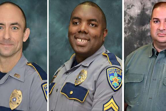 (COMBO)This three image combination photo shows L-R: Baton Rouge police officers Matthew Gerald and Montrell Jackson and Baton Rouge Parish Deputy Brad Garafalo. A black veteran shot three police officers dead July 17, 2016 in the Louisiana capital of Baton Rouge, in a bloody act reminiscent of recent slayings in Dallas to avenge African Americans killed by law enforcement. The shooting, which also wounded three other officers, took place in a city scarred by racial tensions and protests against police brutality since the July 5 death of Alton Sterling, a black man shot at point-blank range by white police. Louisiana State Police Superintendent Colonel Mike Edmonson told reporters the gunman behind the shooting -- widely identified by US media as Gavin Long, 29 -- was killed and there are no suspects at large. The motive was not immediately clear.  / AFP PHOTO / Baton Rouge Parish Sheriff's Office AND Baton Rouge Police Department / HandoutHANDOUT/AFP/Getty Images