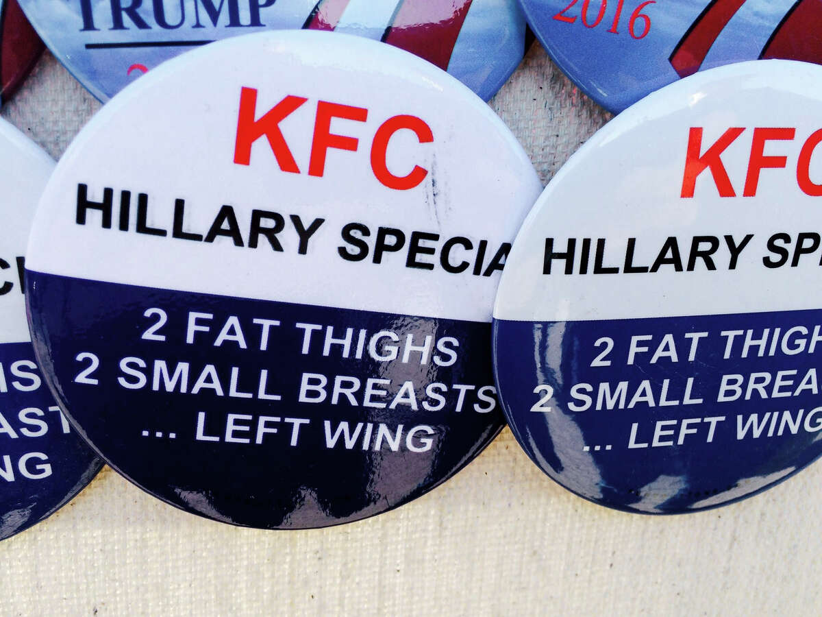 This anti-Hillary Clinton button is one example of the fervor at the GOP convention, which sounds more anti-woman than anti-Democrat.