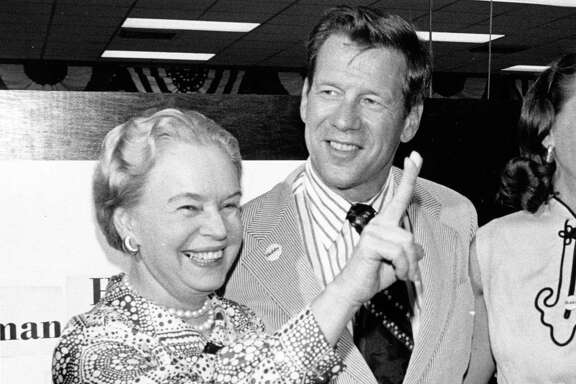 06/05/1972 - Oveta Culp Hobby celebrates the election of her son, Bill Hobby (center) as the democratic nominee for Texas lieutenant governor, with a victory sign. Diana Hobby, the nominee's wife, joins the celebration at Hobby election headquarters.