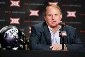TCU head football coach Gary Patterson responds to questions during Big 12 media days, Monday, July 18, 2016, in Dallas. (AP Photo/Tony Gutierrez)