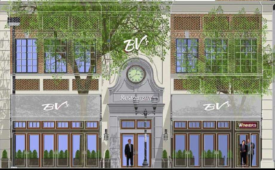 An artist's rendering of the facade of the BV's restaurant and sports bar under construction at 268 Atlantic St. Photo: Contributed Photo