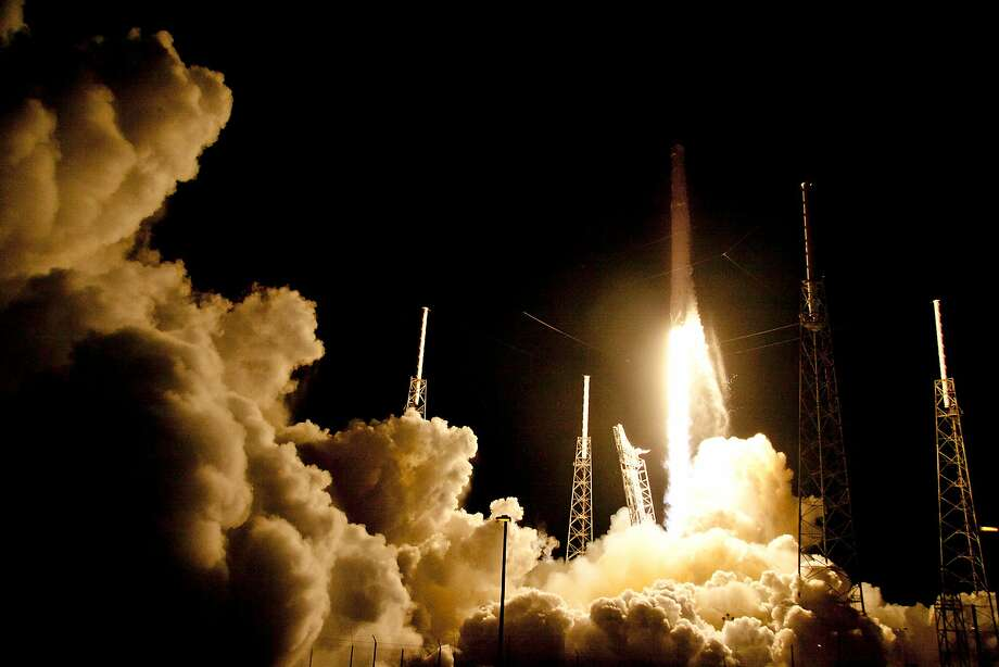 CORRECTS DATE FROM SUNDAY TO MONDAY- The Falcon 9 SpaceX rocket lifts off from launch complex 40 at the Cape Canaveral Air Force Station in Cape Canaveral, Fla., Monday, July 18, 2016. The Falcon 9 is headed to the International Space Station with 5,000 pounds of supplies. (AP Photo/John Raoux) Photo: John Raoux, Associated Press