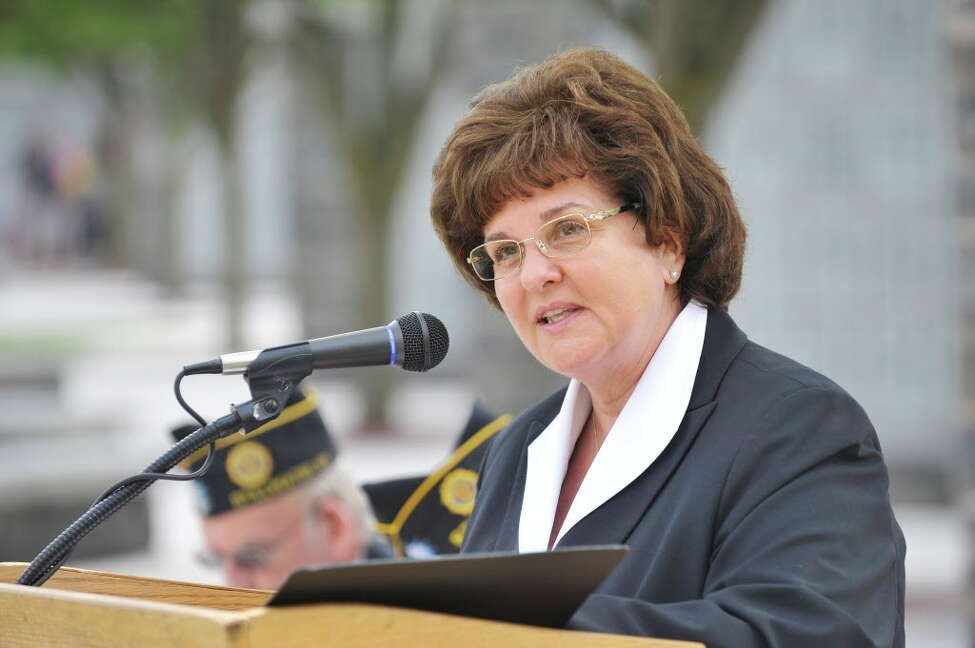 Senator Kathy Marchione addresses those gathered for a Spirit of O45 Ceremony at the Gerald B. H. Solomon Saratoga National Cemetery on Sunday, Aug. 16, 2015, in Schuylerville, N.Y. The event was held to honor WWII Veterans and the end of WWII. (Paul Buckowski / Times Union)