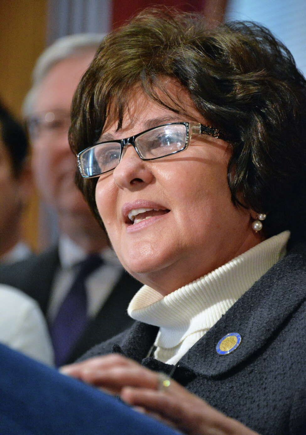 NYS Senator Kathy Marchione speaks during a news conference to urge the Assembly passage of the Public Assistance Integrity Act (PAIA), Tuesday Feb. 4, 2014, in Albany, NY. (John Carl D'Annibale / Times Union)