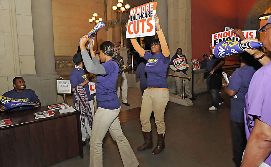 Protesters from 1199 SEIU yell chants about health care outside the Assembly Chamber in the Capitol on June 7, 2010, in Albany, N.Y. (Lori Van Buren / Times Union archive) Photo: LORI VAN BUREN