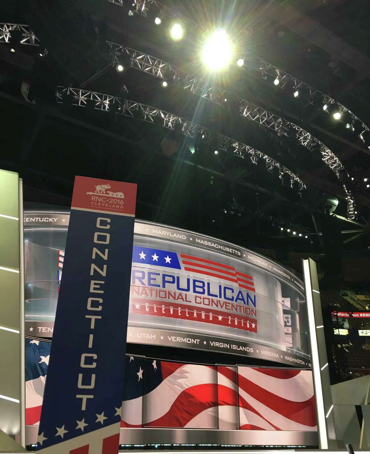 Connecticut's GOP delegation is positioned at the front of the floor at the Republican National Convention in Cleveland.