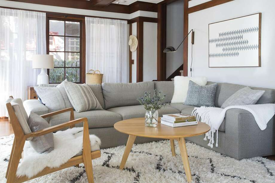The Harding sectional from Room and Board makes a comfortable focus point in Shira Gill's Berkeley Craftsman home. Photo: Vivian Johnson