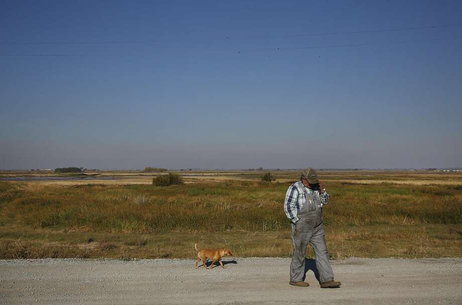 Jaime Barajas walks with dog Peanut last year on Webb Tract Island, where he farms corn. Webb is one of the islands obtained by Metropolitan Water District of Southern California. Photo: Leah Millis, The Chronicle