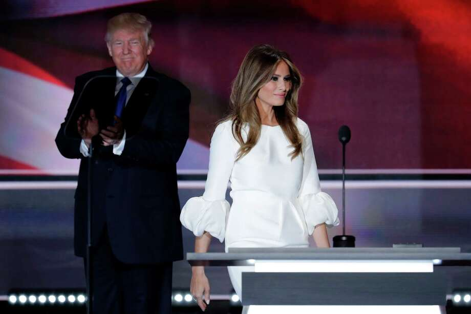 Melania Trump, wife of Republican Presidential Candidate Donald Trump walks to the stage as Donald Trump applaudss during the opening day of the Republican National Convention in Cleveland, Monday, July 18, 2016. Photo: J. Scott Applewhite, AP / Copyright 2016 The Associated Press. All rights reserved. This material may not be published, broadcast, rewritten or redistribu