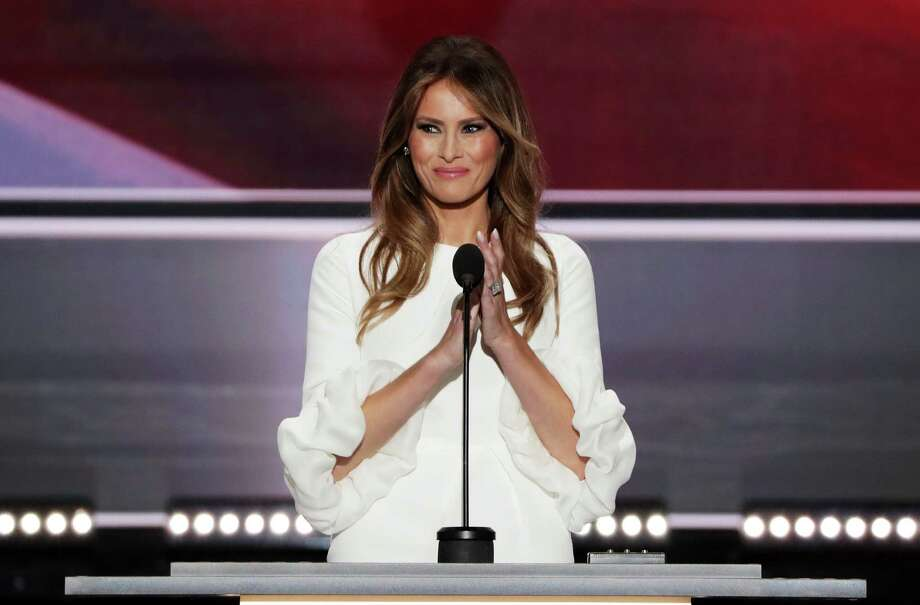 CLEVELAND, OH - JULY 18: Melania Trump, wife of Presumptive Republican presidential nominee Donald Trump, delivers a speech on the first day of the Republican National Convention on July 18, 2016 at the Quicken Loans Arena in Cleveland, Ohio. An estimated 50,000 people are expected in Cleveland, including hundreds of protesters and members of the media. The four-day Republican National Convention kicks off on July 18. Photo: Alex Wong, Getty Images / 2016 Getty Images