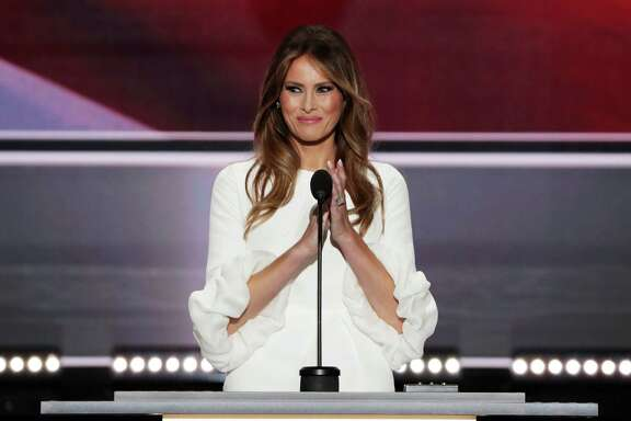 CLEVELAND, OH - JULY 18: Melania Trump, wife of Presumptive Republican presidential nominee Donald Trump, delivers a speech on the first day of the Republican National Convention on July 18, 2016 at the Quicken Loans Arena in Cleveland, Ohio. An estimated 50,000 people are expected in Cleveland, including hundreds of protesters and members of the media. The four-day Republican National Convention kicks off on July 18.