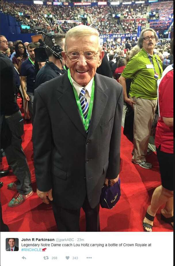 Legendary Notre Dame coach Lou Holtz carrying a bottle of Crown Royale at #RNCinCLE Photo: Twitter Screenshots
