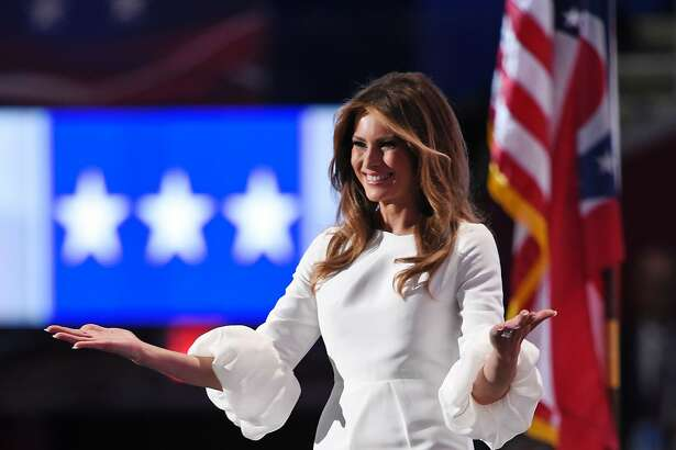 Republican presidential candidate Donald Trump's wife Melania arrives on stage during the evening session of the Republican National Convention at the Quicken Loans arena in Cleveland, Ohio on July 18, 2016. The Republican Party opened its national convention Monday, kicking off a four-day political jamboree that will anoint billionaire Donald Trump as the Republican presidential nominee. / AFP PHOTO / DOMINICK REUTERDOMINICK REUTER/AFP/Getty Images