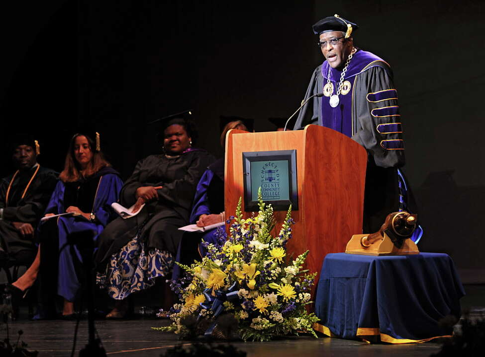 Dr. Robert Jones, University at Albany president, speaks during the Schenectady County Community College commencement ceremonies at Proctors Theatre on Monday, May 19, 2016 in Schenectady, N.Y. (Lori Van Buren / Times Union)