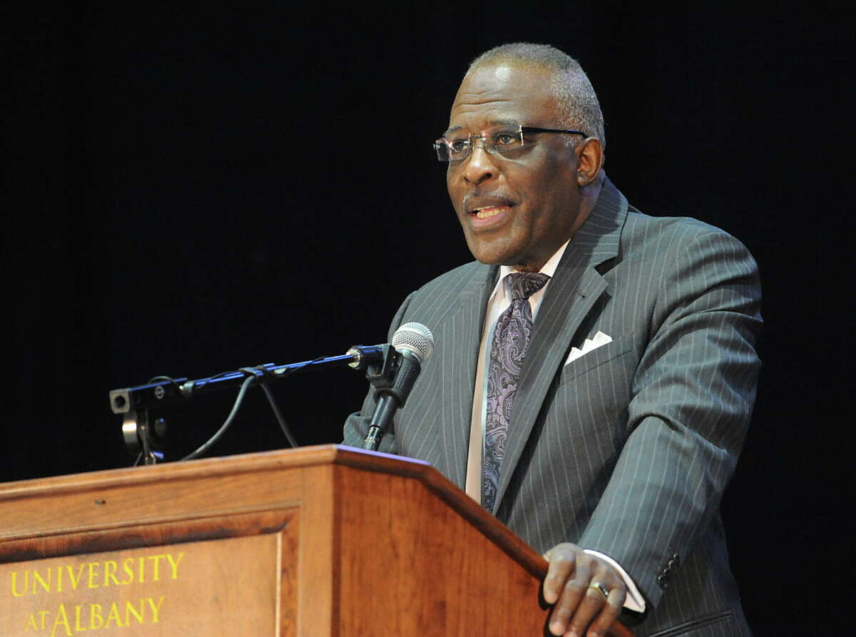 University at Albany President Robert Jones speaks before announcing Joanna Bernabei-McNamee as the new women's basketball coach for UAlbany on Friday, April 22, 2016 in Albany, N.Y. (Lori Van Buren / Times Union)