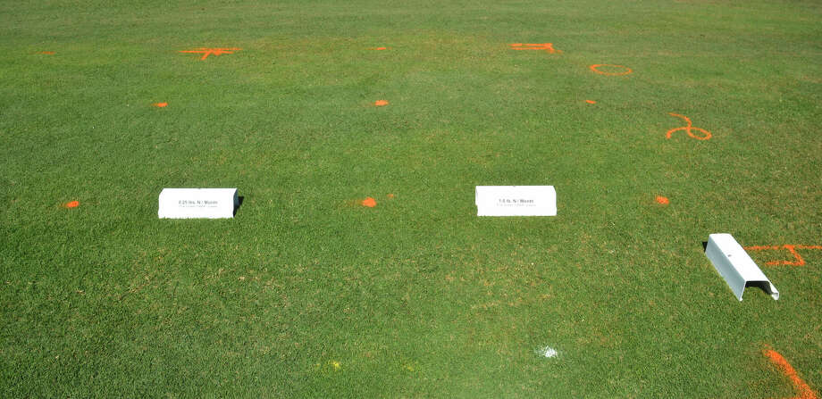 Nitrogen rate comparisons on turfgrass plots were done by Dr. Ben Wherley, a Texas A&M AgriLife Research turfgrass ecologist.