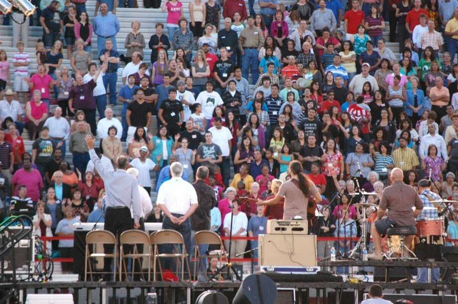 More than 2,000 attended the opening night of the Go Tell Crusade at Greg Sherwood Memorial Bulldog Stadium on Sunday. Lead by evanglist Rick Gage, the crusade continues nightly through Wednesday.