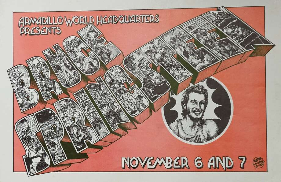 Poster for Bruce Springsteen show at the Armadillo World Headquarters in Austin in 1974. Poster design by Micael Priest from the collection of Tony Davidson Photo: Photo By Jay Dryden