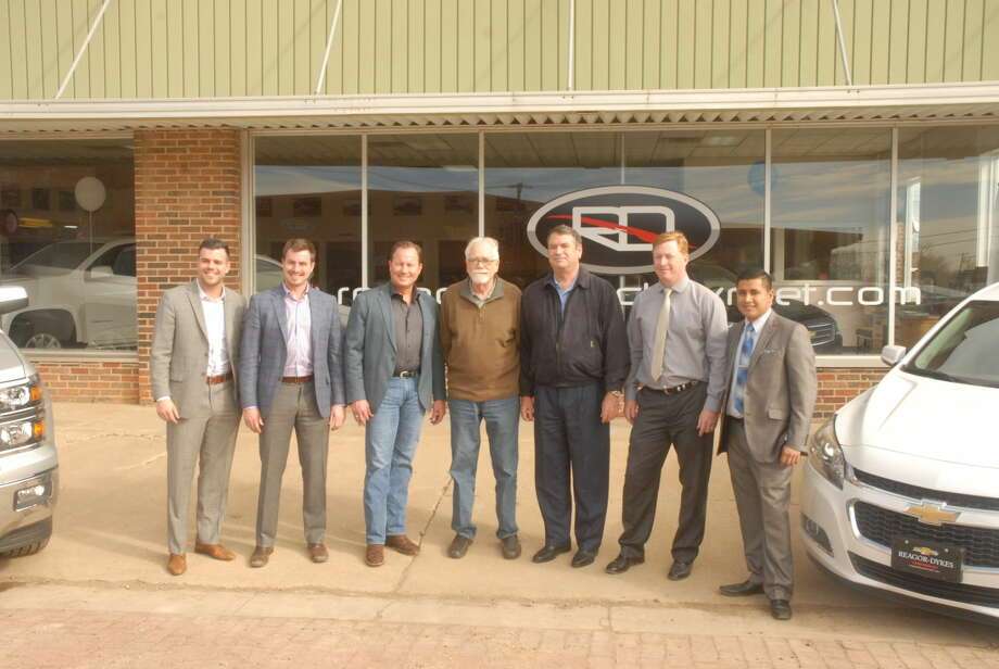 Marking the purchase of Floydada's Oden Chevrolet, members of the Reagor-Dykes group stand with former owner Stephen Fyffe, who continued an 80-year legacy of the dealership. Pictured above are Jordan Vestal, E-Commerce Director; Ryan Reagor, E-Commerce Director; Bart Reagor, RDAG owner; Fyffe, Oden Chevrolet Owner; Rick Dykes, RDAG Owner; Brian Bruce, Reagor Dykes Chevrolet GM; and Ryan Pecina, Sales Professional Photo: Homer Marquez/Plainview Herald