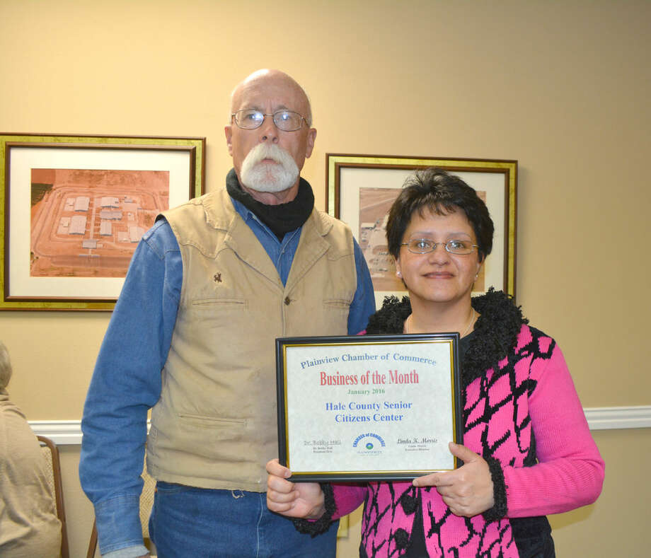 The Hale County Senior Citizens Center, represented by board member Travis Thornton and Executive Director Norma Casanova, is the Chamber Business of the Month. The Senior Center at 1107 Smyth offers activities for those ages 50 and older, but serves a well-balanced meal at lunch for people of all ages. Lunch is from 11:30 a.m. to 1 p.m. daily and priced at $6 for those dining in, $6.50 takeout and $7 delivered. There are weekly devotionals, health screening, annual health fair, group activities, exercise classes and games.