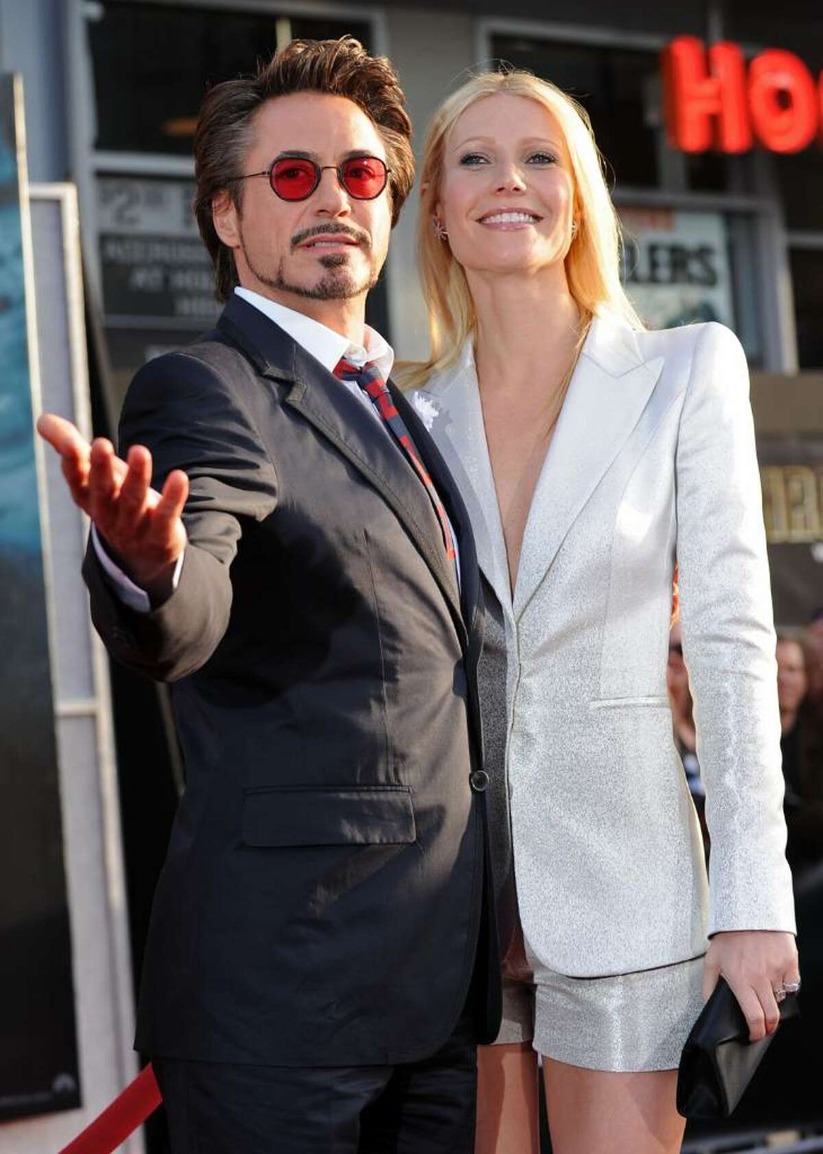 """HOLLYWOOD - APRIL 26: Actor Robert Downey Jr. and actress Gwyneth Paltrow arrive at the world premiere of Paramount Pictures and Marvel Entertainment's """"Iron Man 2"""" held at El Capitan Theatre on April 26, 2010 in Hollywood, California. (Photo by Kevin Winter/Getty Images) *** Local Caption *** Robert Downey Jr.;Gwyneth Paltrow"""