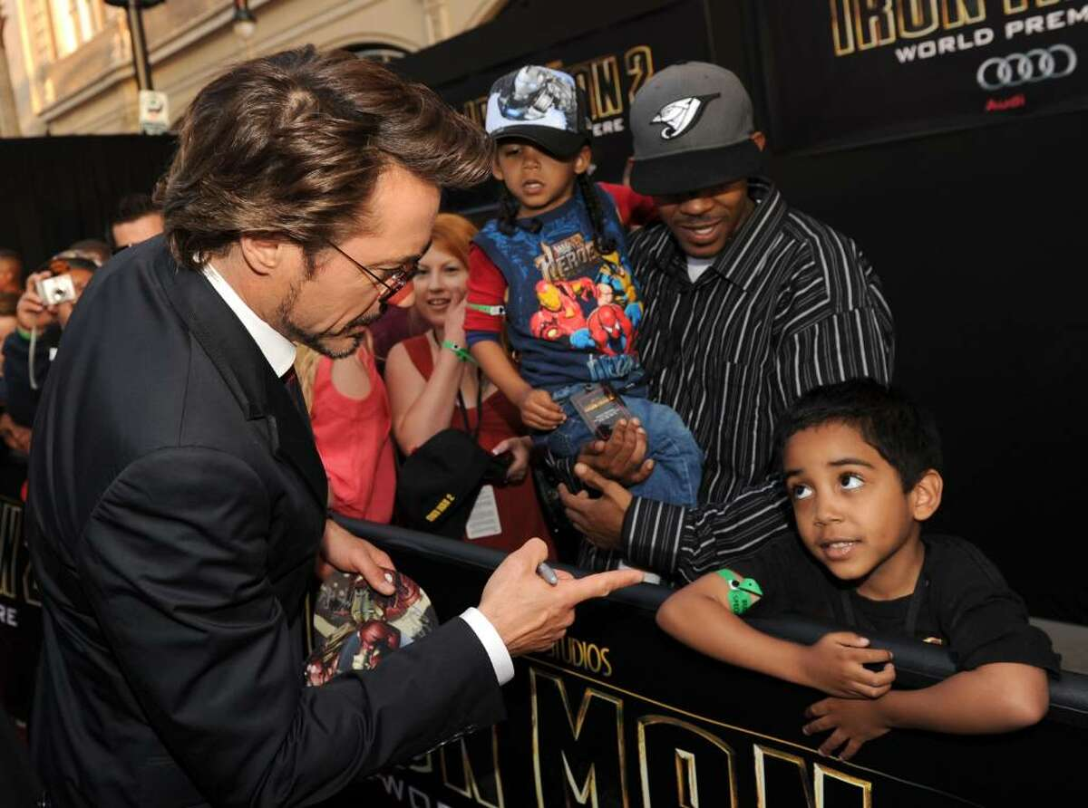 """HOLLYWOOD - APRIL 26: Actor Robert Downey Jr. arrives at the world premiere of Paramount Pictures and Marvel Entertainment's """"Iron Man 2"""" held at El Capitan Theatre on April 26, 2010 in Hollywood, California. (Photo by Kevin Winter/Getty Images) *** Local Caption *** Robert Downey Jr."""
