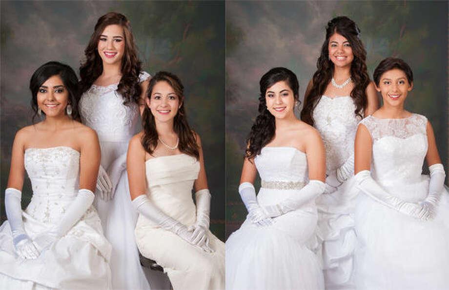 At Left: Sarah Pardo (left), Miranda Hastey and Megan Mayo. At right: Alyssa Perez, Reagan Resendez and Cassandra Delgado.