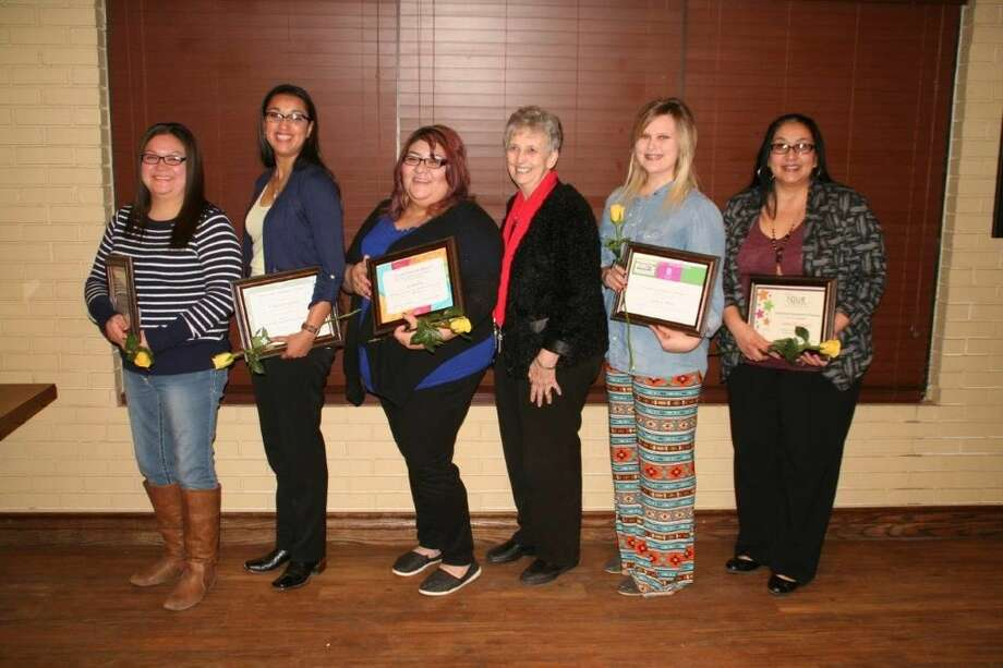 Recognized by Soroptimist International of Plainview at Thursday's awards banquet were Barbara Garcia (left), Virginia Espinosa, Darlene Vidal, awards chairman Brenda Rowan, Emily White and Leticia Rodriguez.