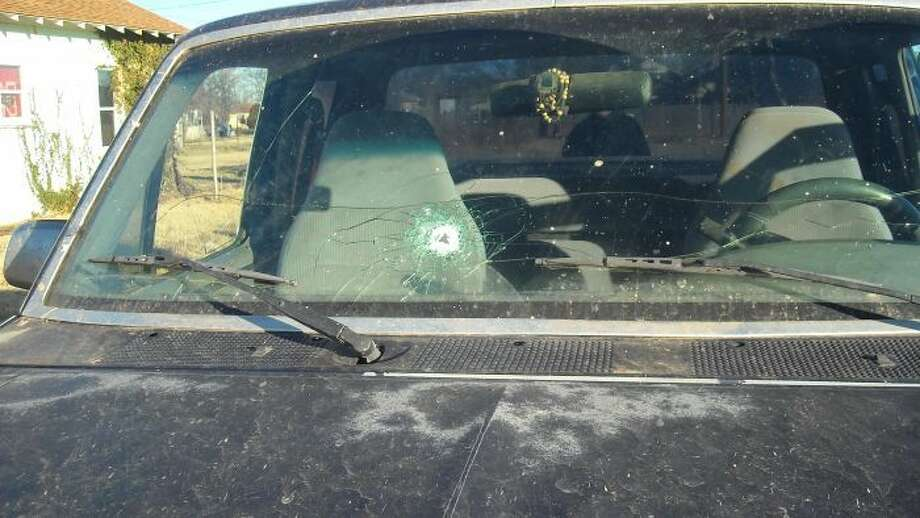 Two men have been arrested after a shot-up pickup truck led Floydada authorities to the location of stolen property. Photo: Courtesy Photo