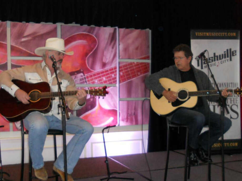 Nashville songwriter Bernie Nelson preforms with Mac Davis during a session on Sirus Radio. Photo: Courtesy Photo