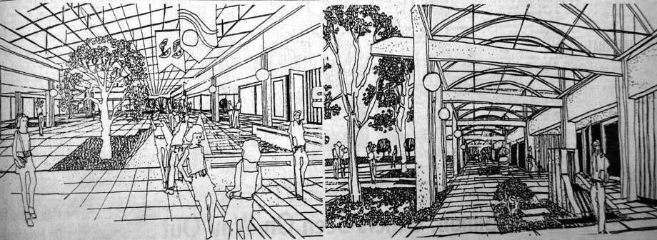 DOWNTOWN HALL: First envisioned in 1974, a bold downtown rejuvenation project called for an enclosed mall covering several blocks along Broadway as well as covered sidewalks along adjacent alleyways. The project was to be complete by the year 2000.