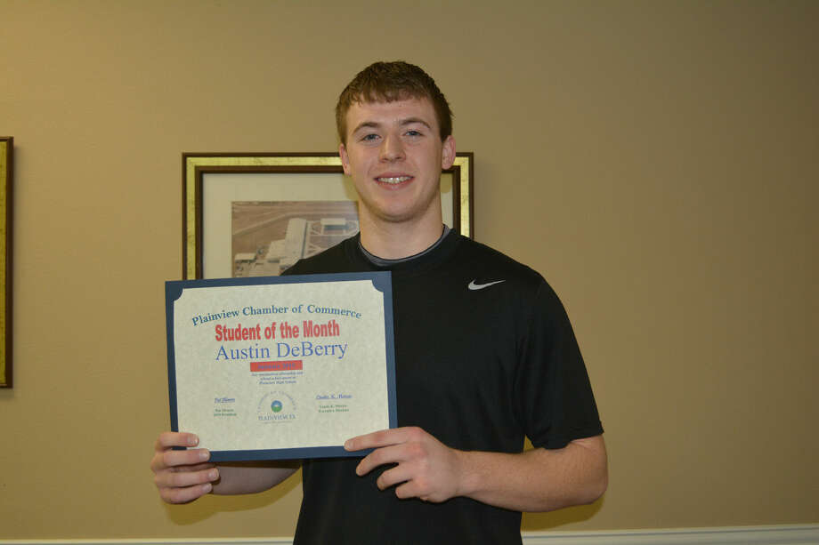 Austin DeBerry, a Plainview High School senior, was introduced Tuesday as the Plainview Chamber of Commerce Student of the Month. The 18-year-old son of Donna Mulkey, he is active in Bulldog athletics as a member of the football, basketball and track squads. Hobbies include football, basketball and video games and he is a member of the First Assembly of God. Following graduation, DeBerry plans to first attend Wayland Baptist University before transferring to Texas Tech. He is undecided on a major, but is considering either pre-med or engineering.