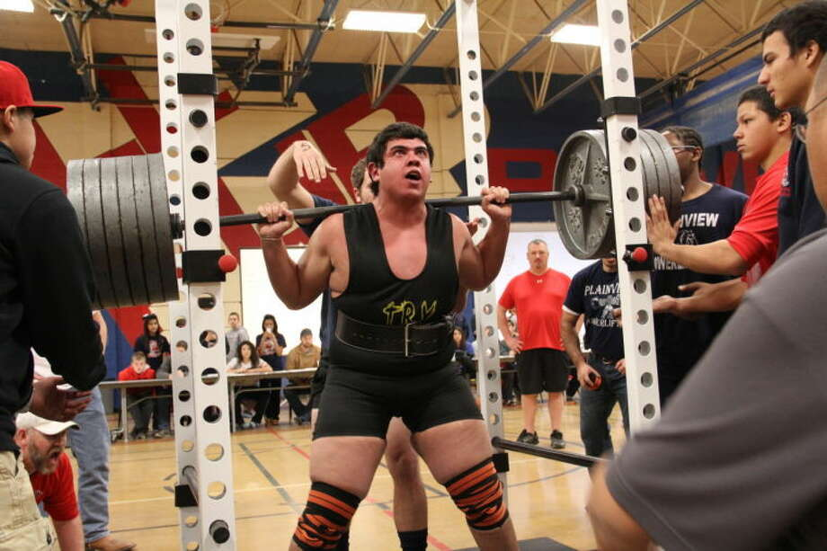 Plainview's Erik Mendez executes a 600-pound squat, the best of the day at the Plainview Invitational Powerlifting Meet at Coronado Junior High Saturday. Mendez won the 275-pound weight class and was named the Best Lifter Heavy Platform.  Photo: Photo Courtesy Of Curtis Bailey