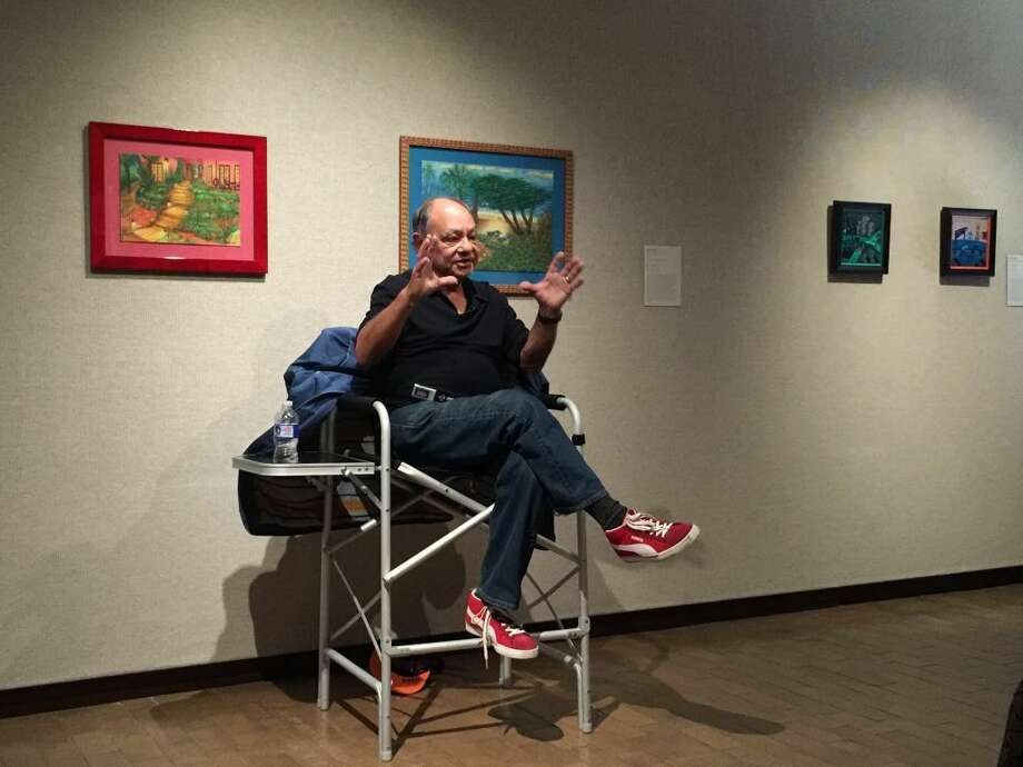 On Tuesday, actor, director, comedian, author and art collector Cheech Marin fields question at a press conference to promote his collection on display at the Amarillo Museum of Art. Photo: Homer Marquez/Plainview Herald