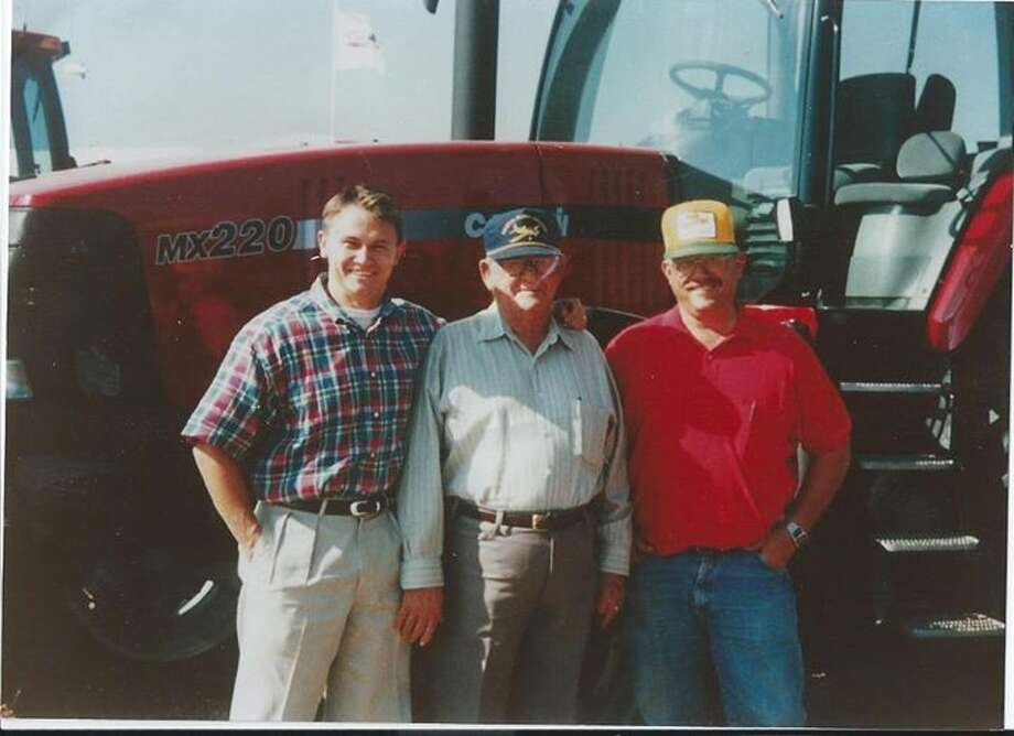 Three generations of Melton men pose near the tools of the trade for many West Texas families. Pictured from left are son Jared, Dewey Melton and Weldon Milton. Photo: Courtesy Photo
