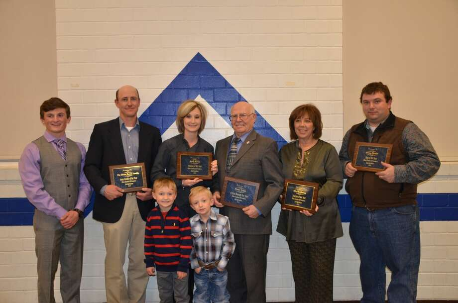 Winners of Citizen Awards presented at the 59th annual Olton Chamber of Commerce and Agriculture Banquet include Farm Family of the Year, Brent and April Burns along with their children Zane Gunter and Callen and Colby Burns; Woman of the Year, April Burns; Citizen through the Years, Elmer Lewis; Teacher of the Year, Misti Gallaway; and Man of the Year, Brian Mahler. Photo: Courtesy Photo/Olton Enterprise