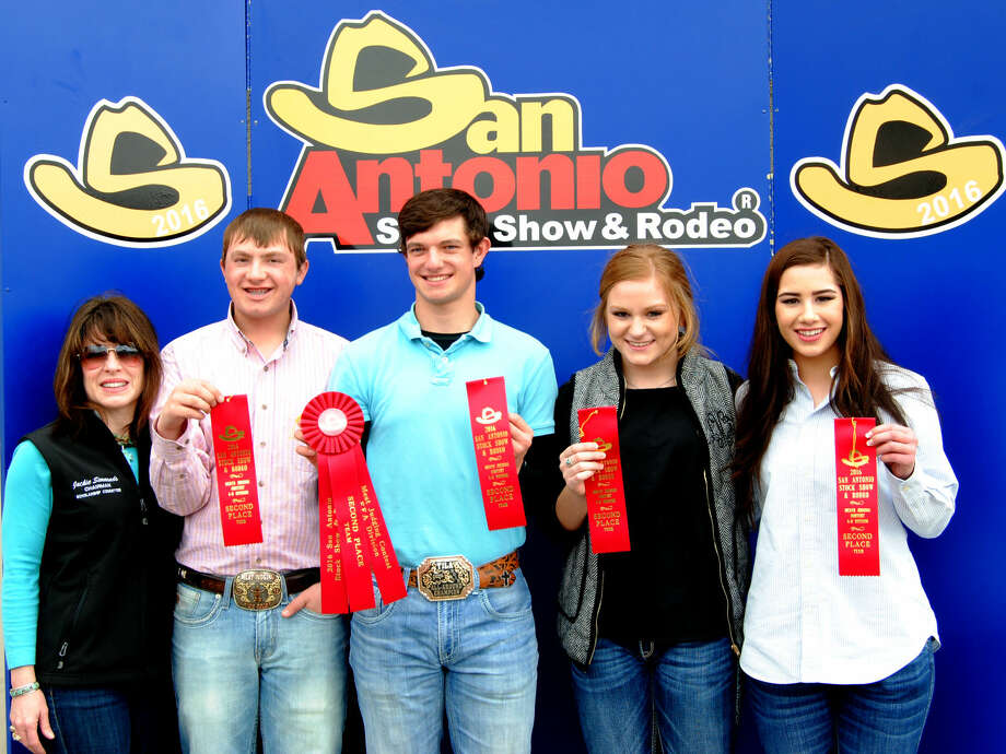 Hale County 4-H Meat Judging Team 1 took second place at the San Antonio Stock Show and Rodeo on Sunday, finishing behind a team of Johnson County 4-H. Miranda Hastey (right) earning honors as second high individual. Teammate Layne Mustian (second from right) was third high individual, with Ethan Geter of Abernathy (center) placing 23rd and Zach McDonough 13th. The contest drew 300 contestants, including 64 4-H'ers and 236 FFA members. The contest pitted 19 4-H teams against each other, with 72 FFA teams competing at the same time. The top individual in both 4-H and FFA each received a belt buckle and $10,000 college scholarship.