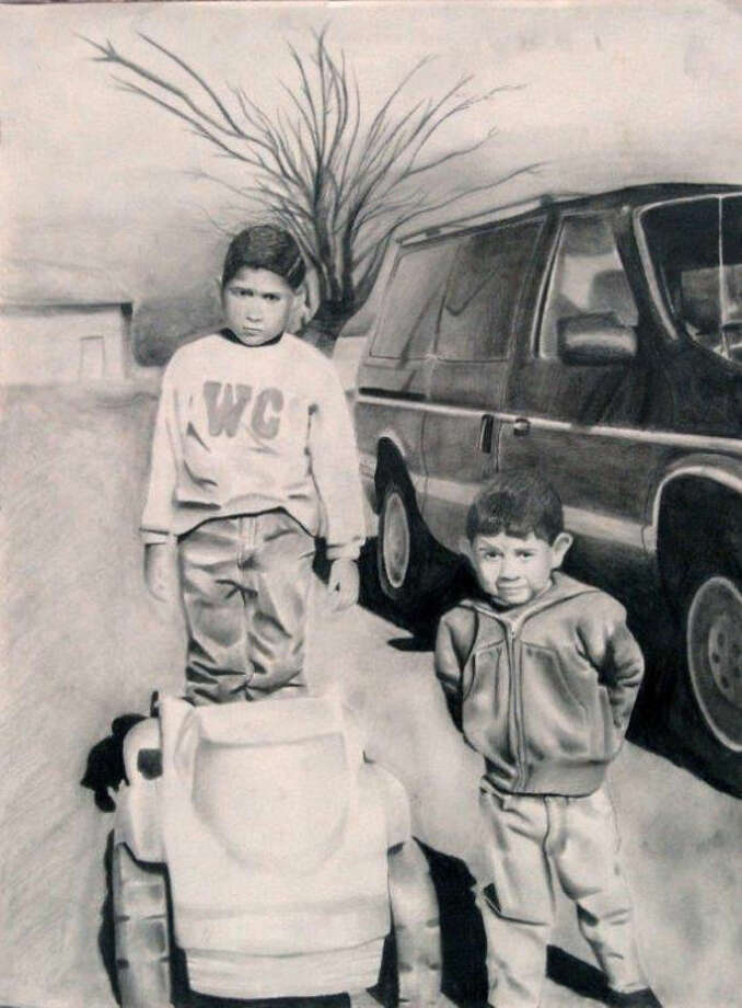 'me And My Bro,' drawing by Eric Ortiz, Monterey High School, grade 11 Photo: Courtesy Photo | Abraham Art Gallery