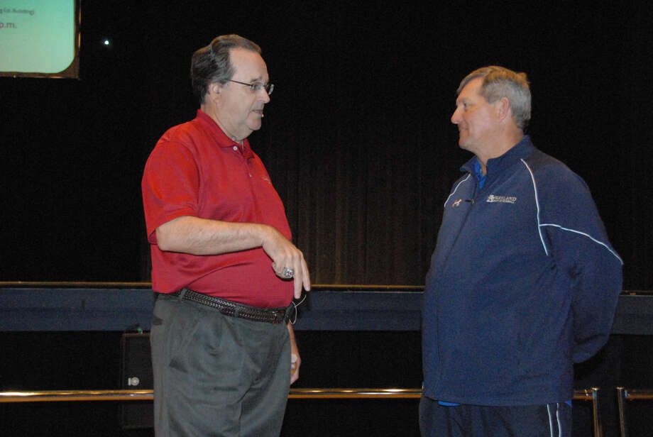 """Jonathan Petty/Wayland Baptist UniversityWayland Baptist University baseball coach Brad Bass (right) talks with St. Louis Cardinals scout Dick """"Lefty"""" O'Neal prior to Wayland's chapel service on Wednesday. O'Neal has penned his story, """"Dreaming of the Majors, Living in the Bush,"""" which is in the process of being turned into a major motion picture."""