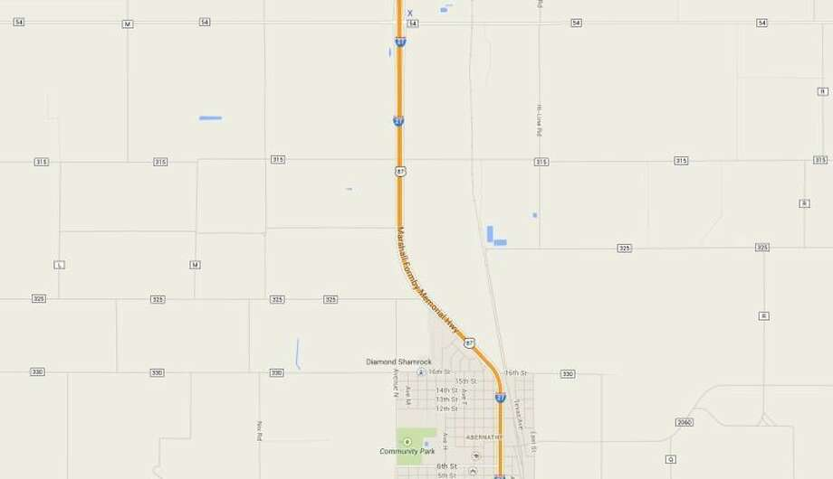 A google map view of the accident scene, marked by an X, 3 miles north of the city of Abernathy.