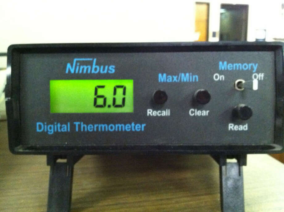 Official temperature reading at 8 a.m. Tuesday, Jan. 28, at the Plainview Herald.
