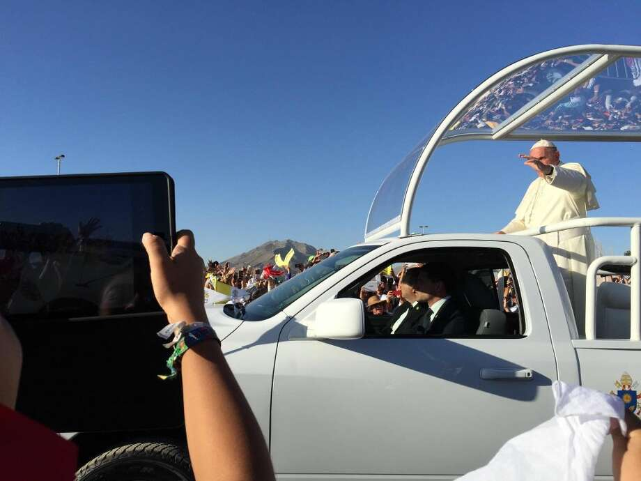 Once in a Lifetime Event Courtesy Photos Pope Francis passes within almost arm's length from Plainview residents Mina Nunez and Mary Mora as he is driven to the altar for Mass on Wednesday at a Ciudad Juarez fairgrounds. A cousin to Nunez who lives in Juarez get Plainview women tickets to the event. They arrived at the fairgrounds about 5 a.m. and were near the front of the line when the gates opened at 6:30 a.m. When the Mass started about 4 p.m., the proceedings were shown on large screens throughout the arena.